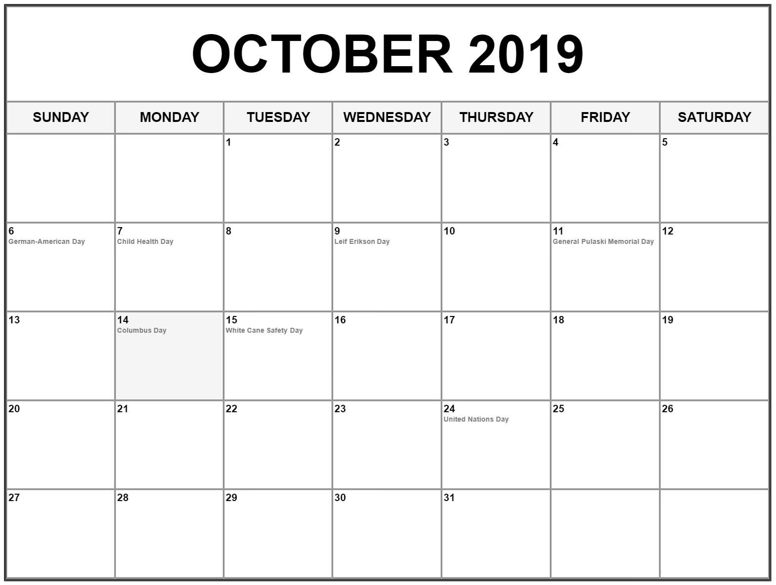 Free October 2019 Calendar Printable Template Pdf Word Excel