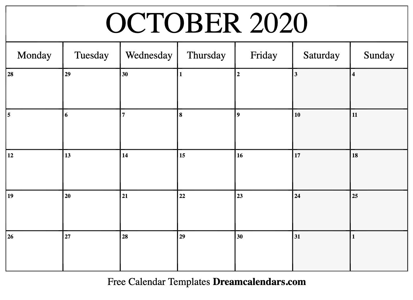 Free October 2020 Calendar - Wpa.wpart.co