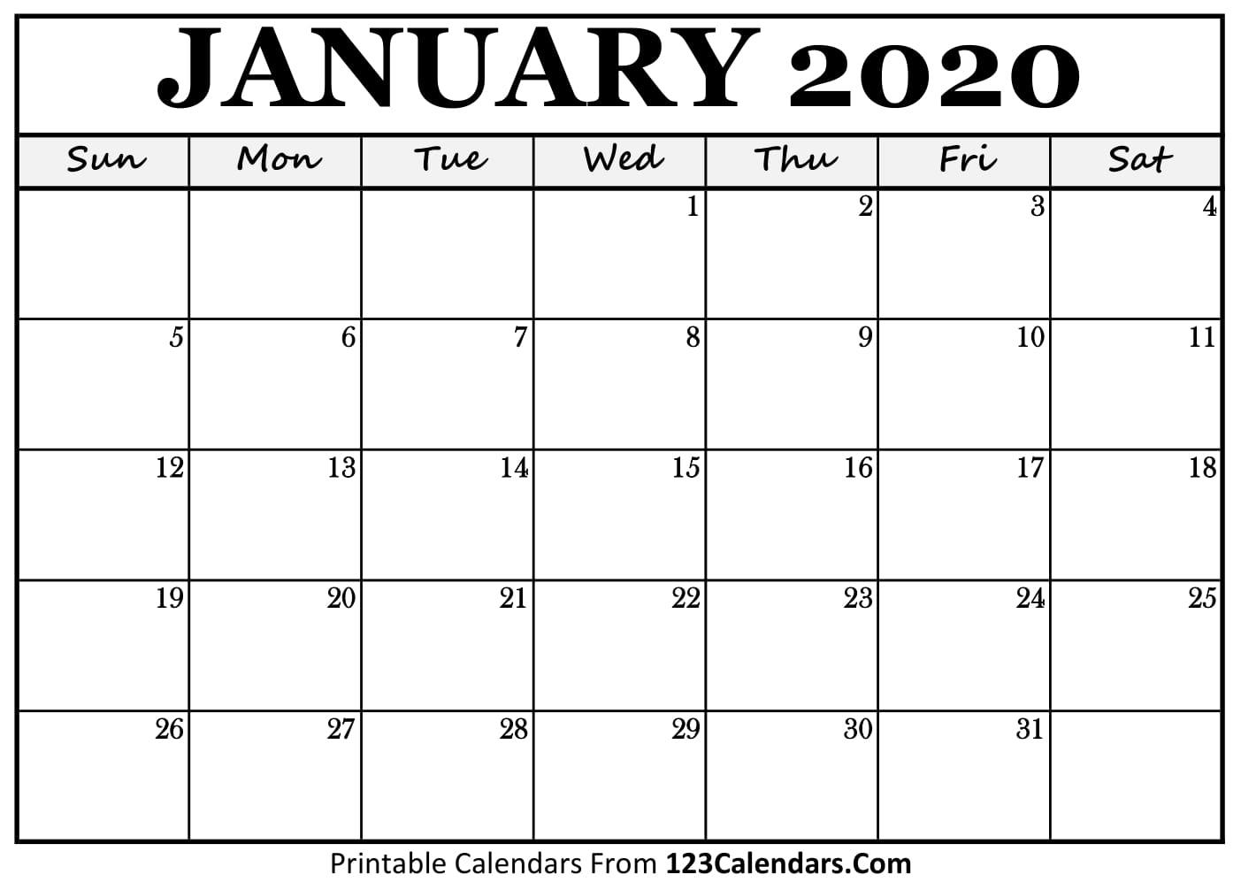 Free Online Printable Calendar 2020 - Wpa.wpart.co