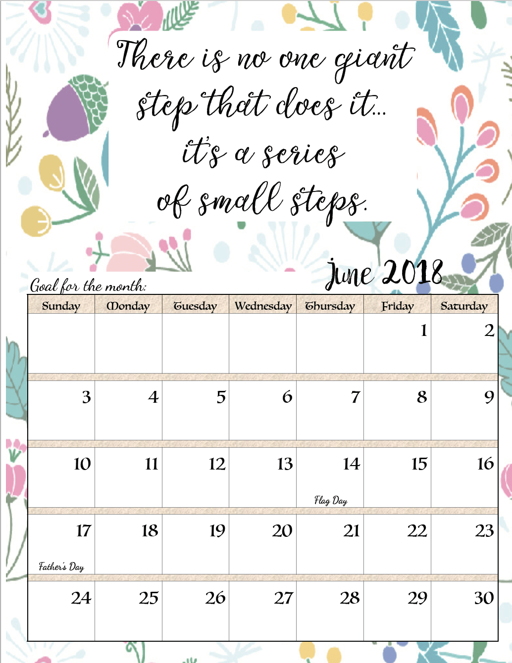 Free Printable 2018 Monthly Motivational Calendars | Iphone