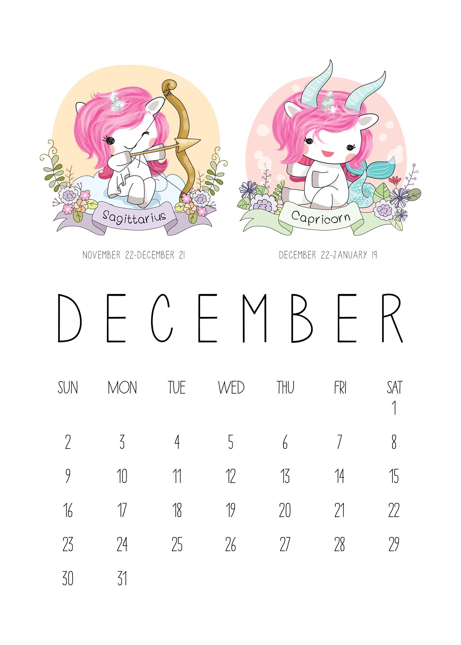 Free Printable 2018 Zodiac Sign Kawaii Unicorn Calendar