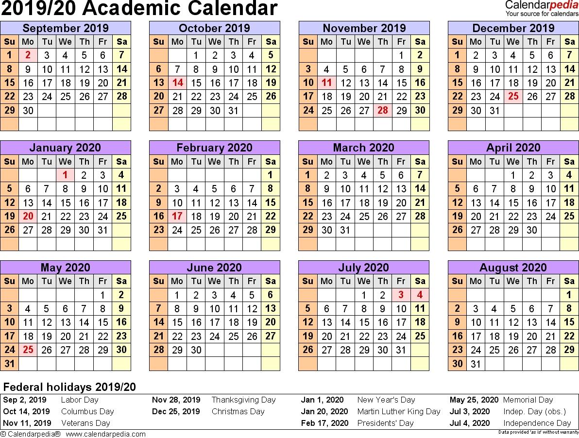 Free Printable 2019-2020 Academic Calendar - Calendar
