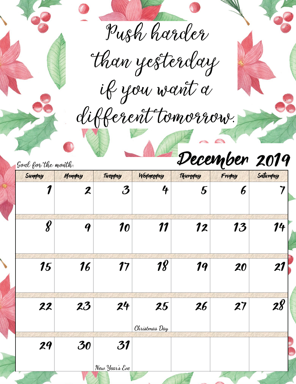 Free Printable 2019 Monthly Motivational Calendars | Free