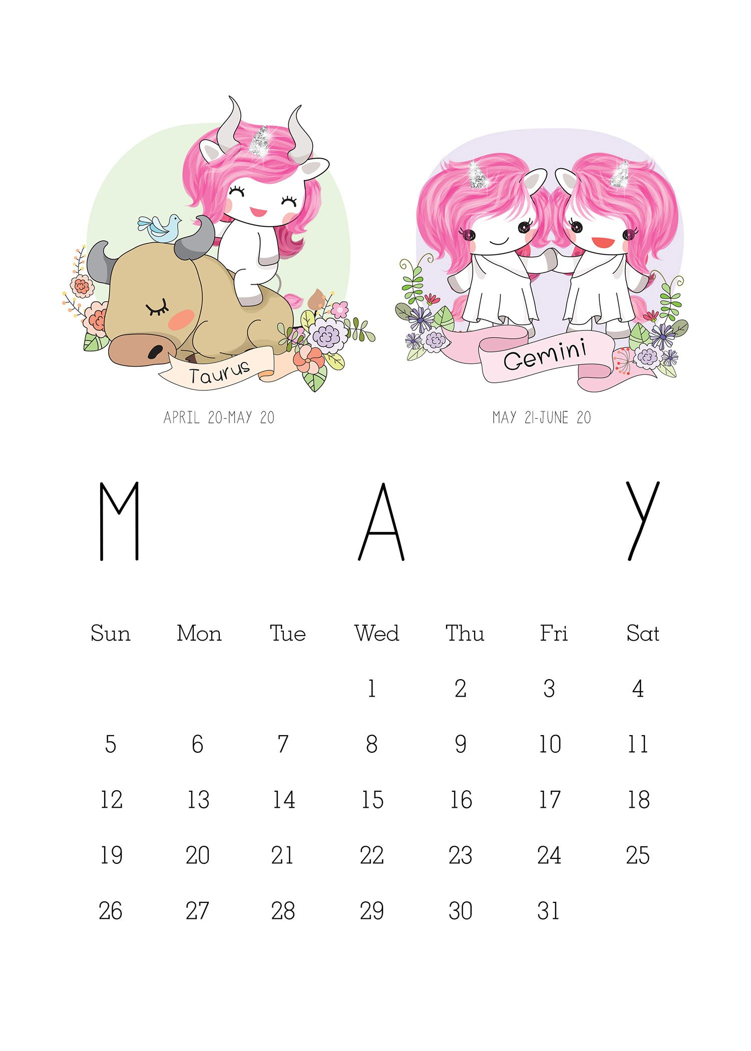 Free Printable 2019 Zodiac Sign Kawaii Unicorn Calendar