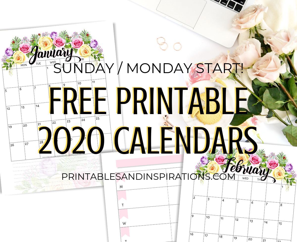 Free Printable 2020 Calendar With Flowers - Printables And