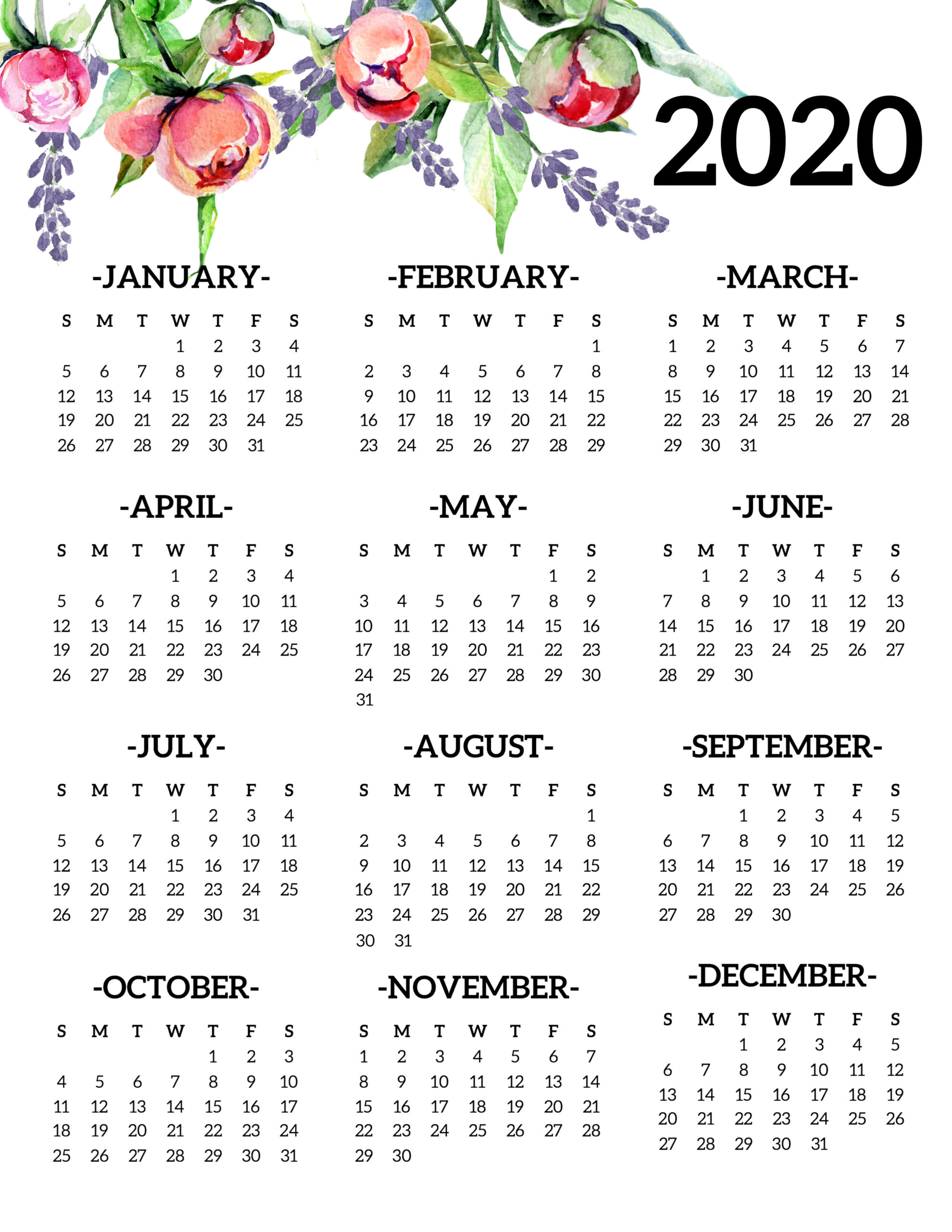 Free Printable 2020 Calendar Yearly One Page Floral - Paper