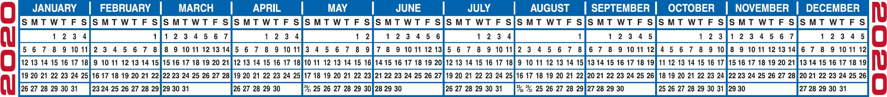 Free Printable 2020 Calendars & 2020 Calendar Strips