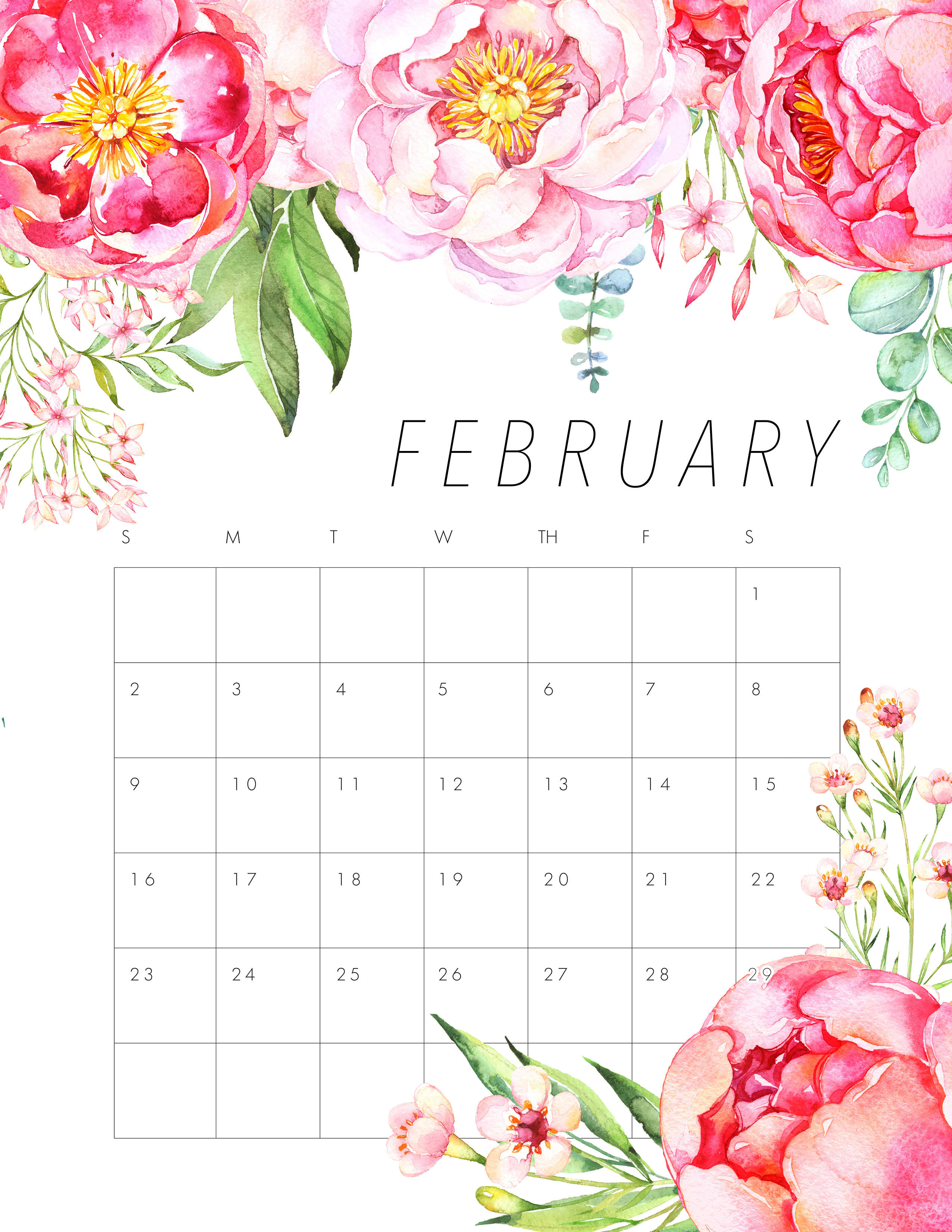 Free Printable 2020 Floral Calendar - The Cottage Market