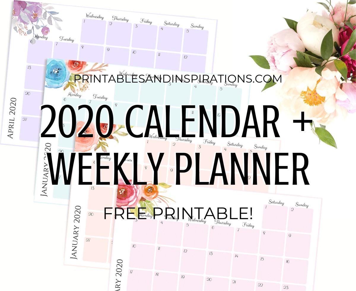 Free Printable 2020 Monthly Calendar + Weekly Planner