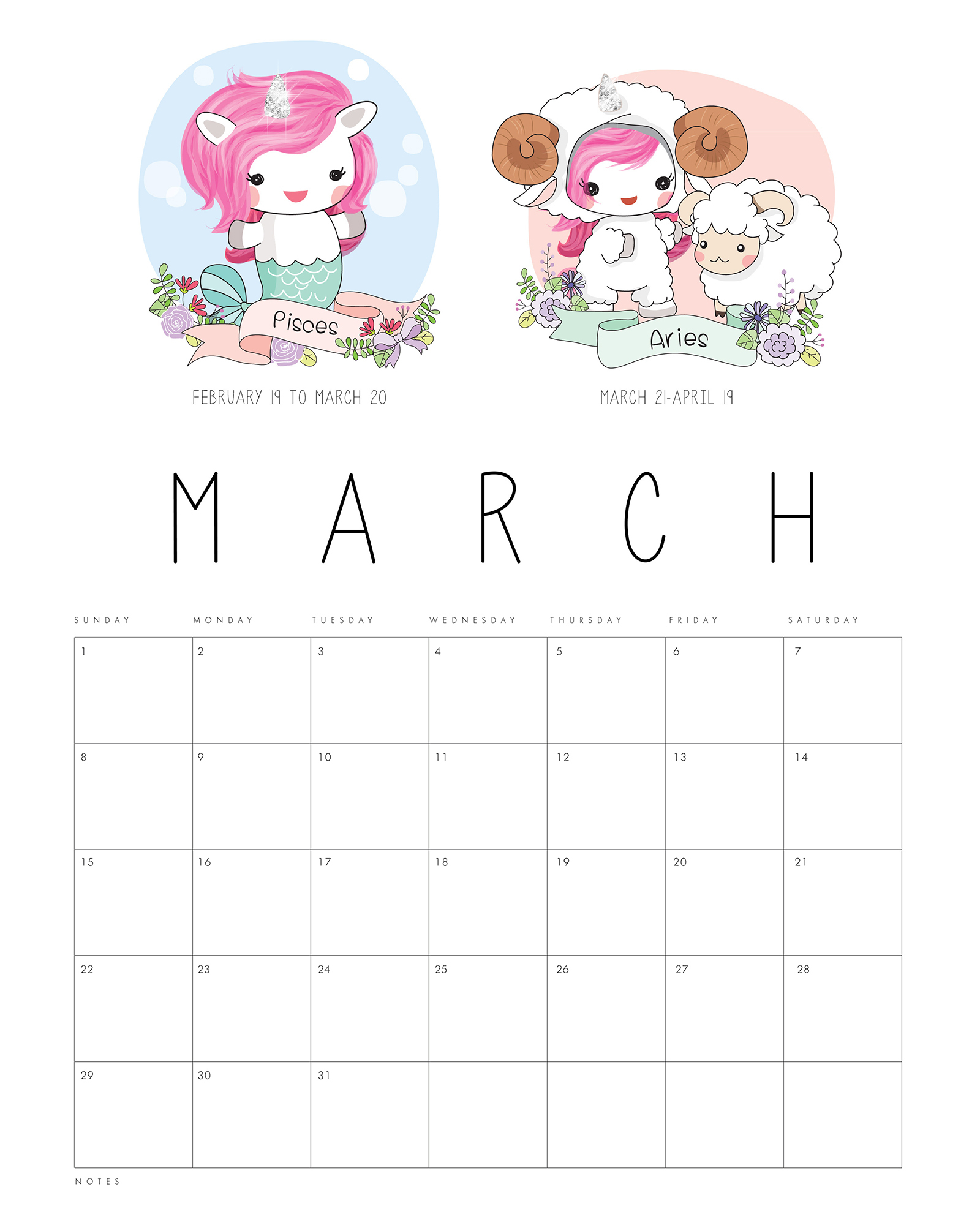 Free Printable 2020 Zodiac Sign Kawaii Unicorn Calendar