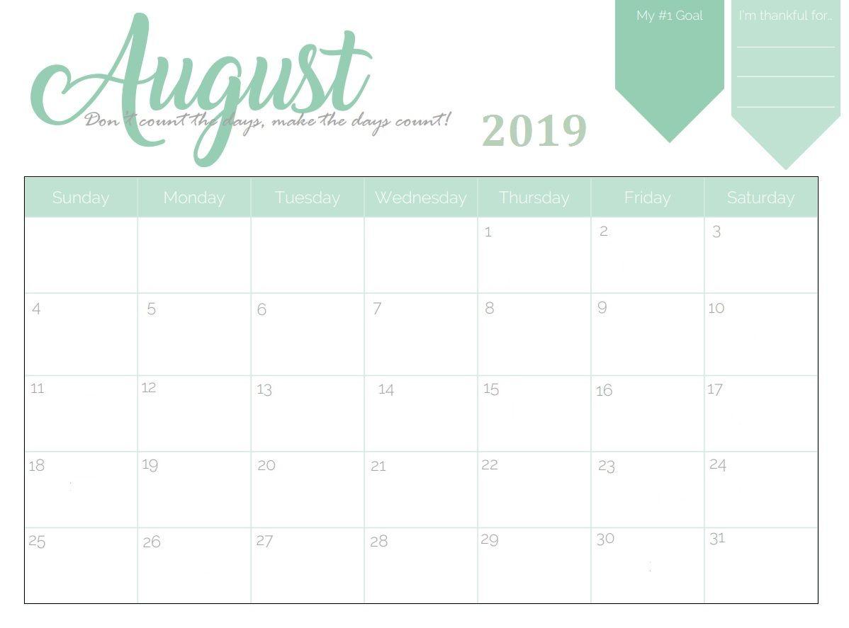 Free Printable August 2019 Planner Calendar | Calendar March