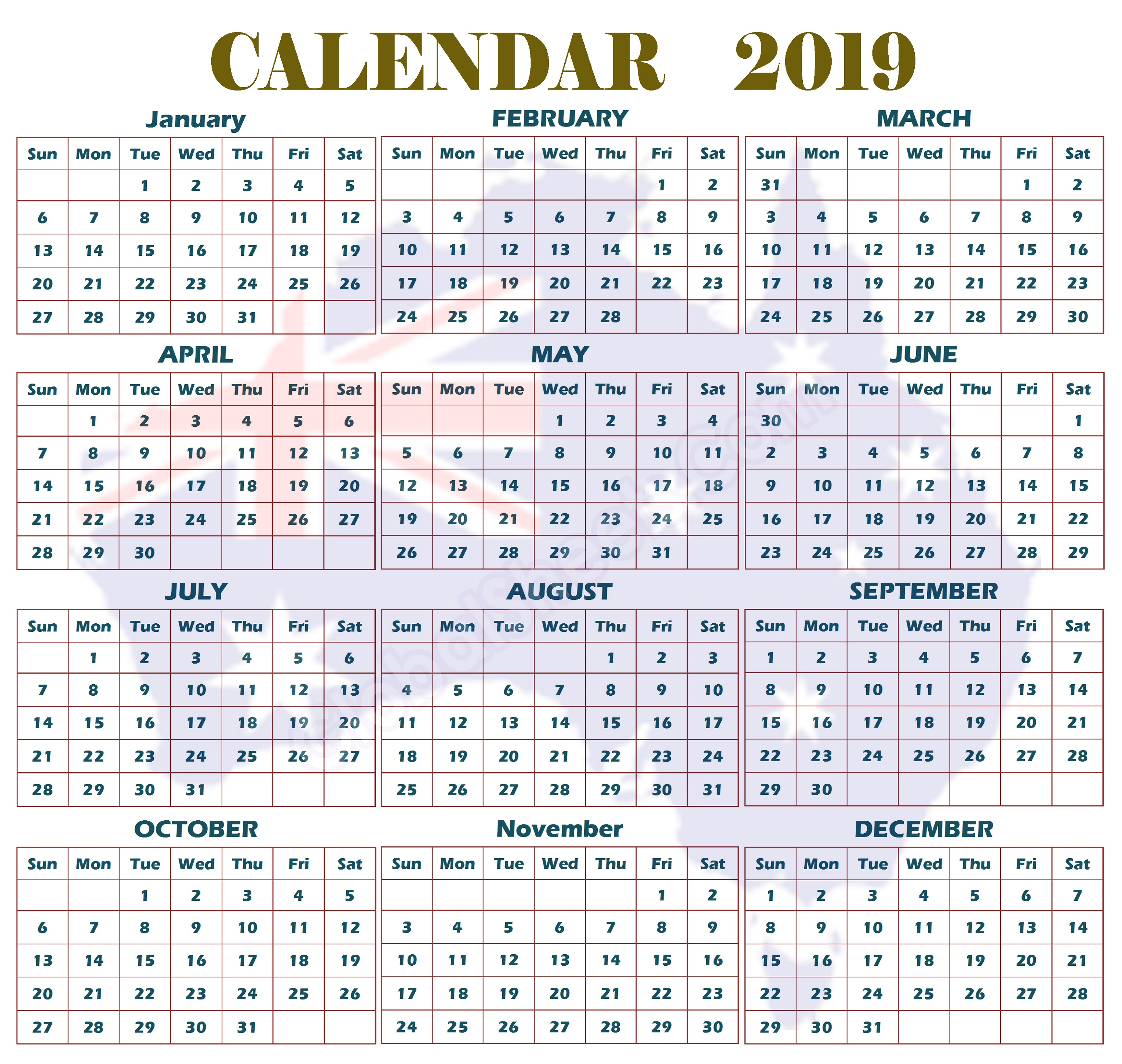 Free Printable Calendar 2019 | Calendar Shelter