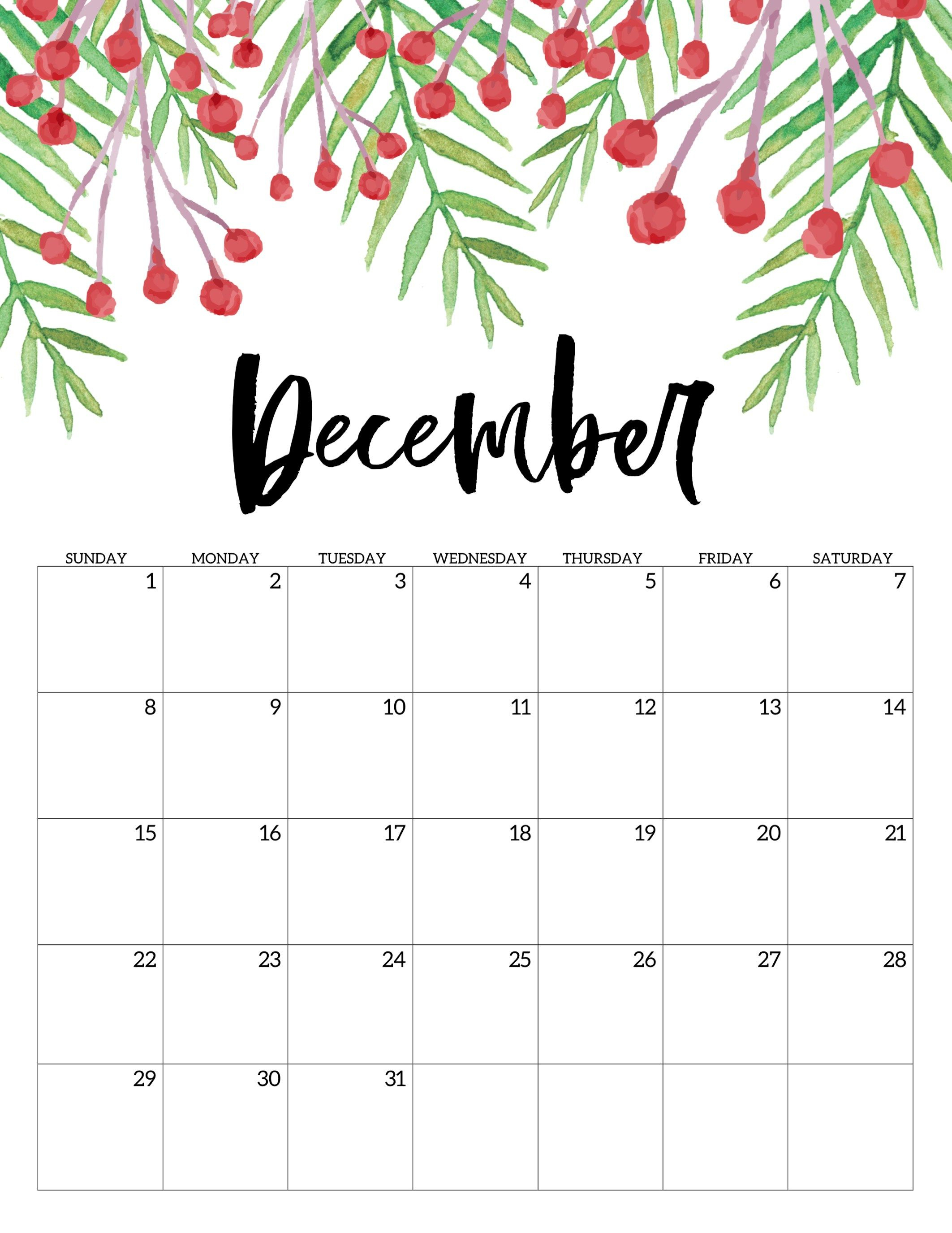 Free Printable Calendar 2019 - Floral   Ежемесячные