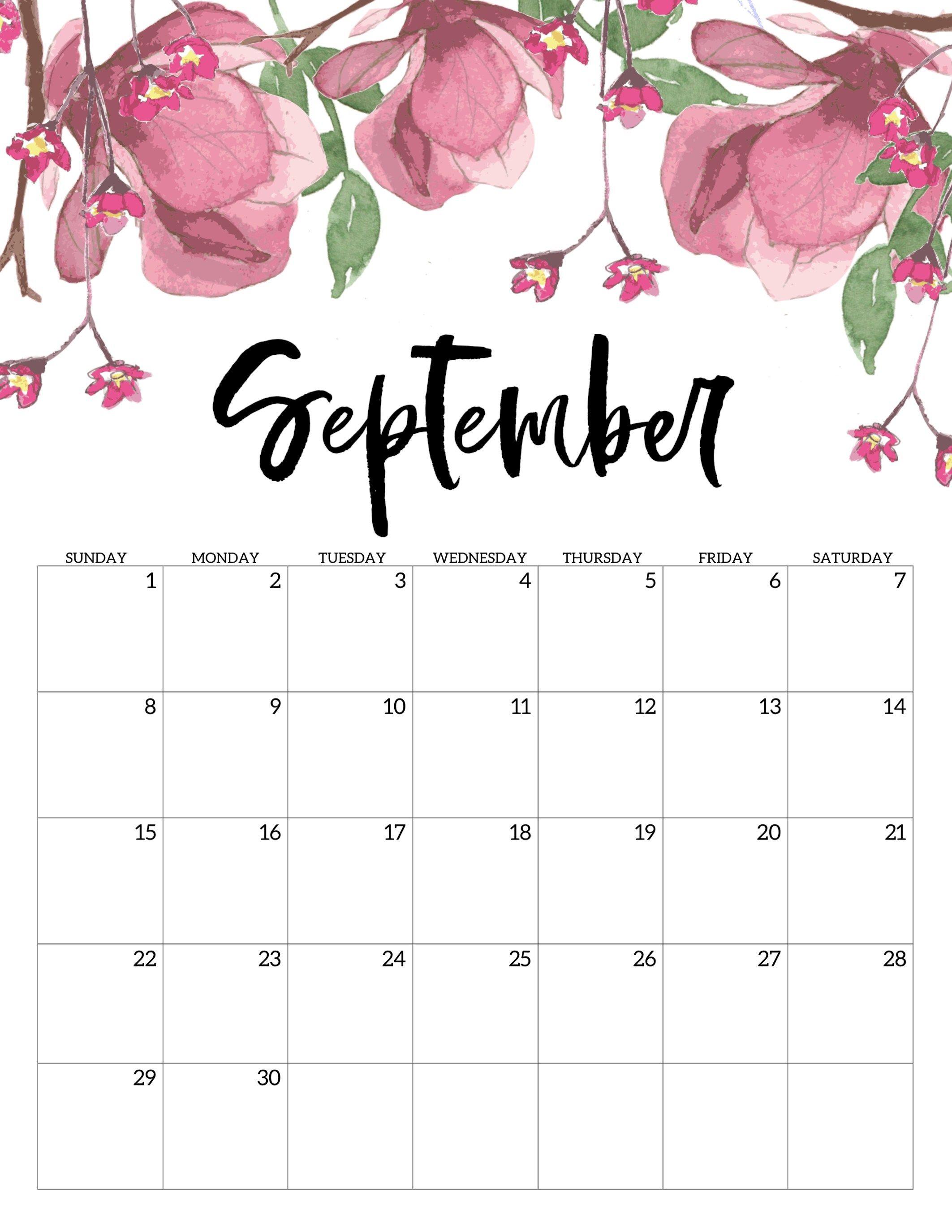 Free Printable Calendar 2019 - Floral | Еженедельный