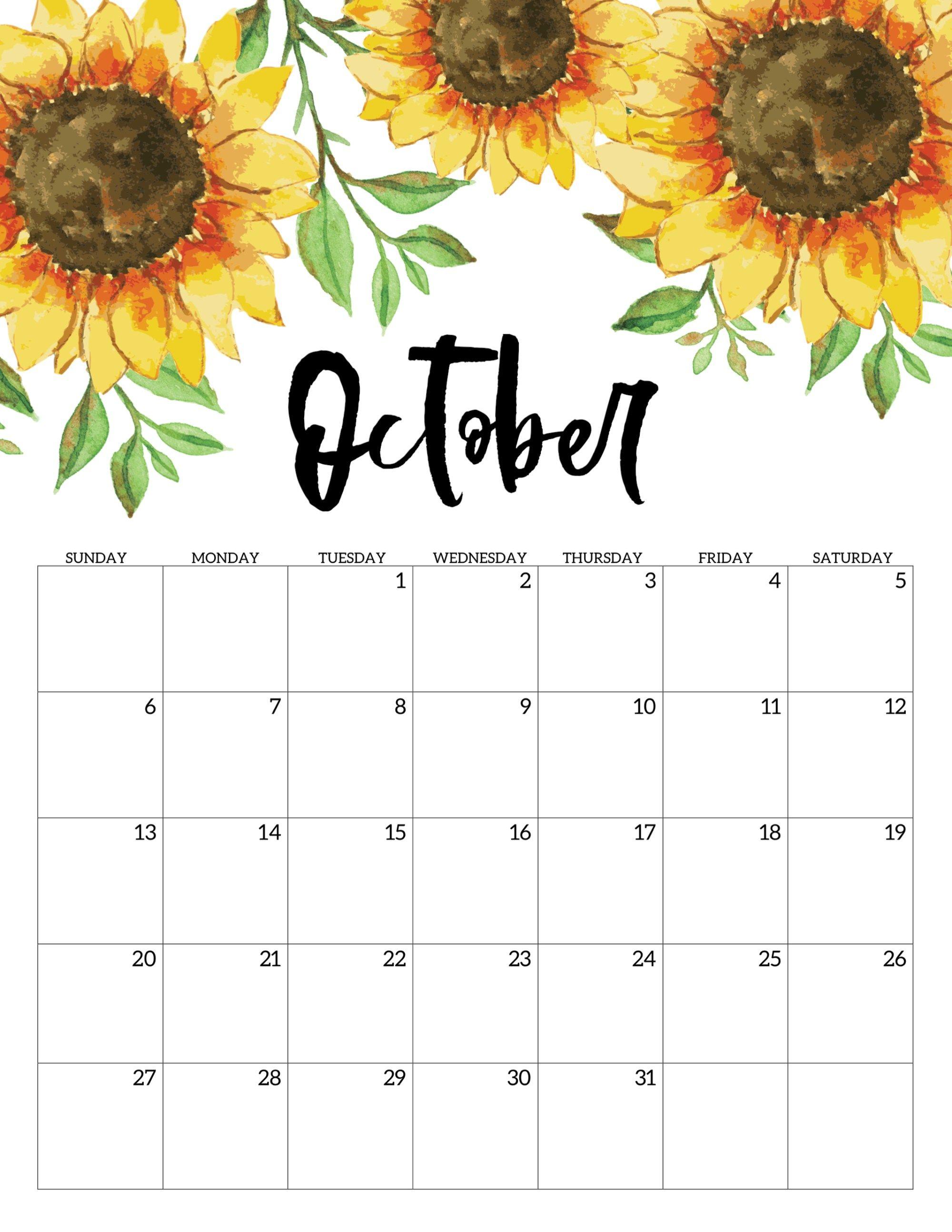 Free Printable Calendar 2019 - Floral | October Calendar