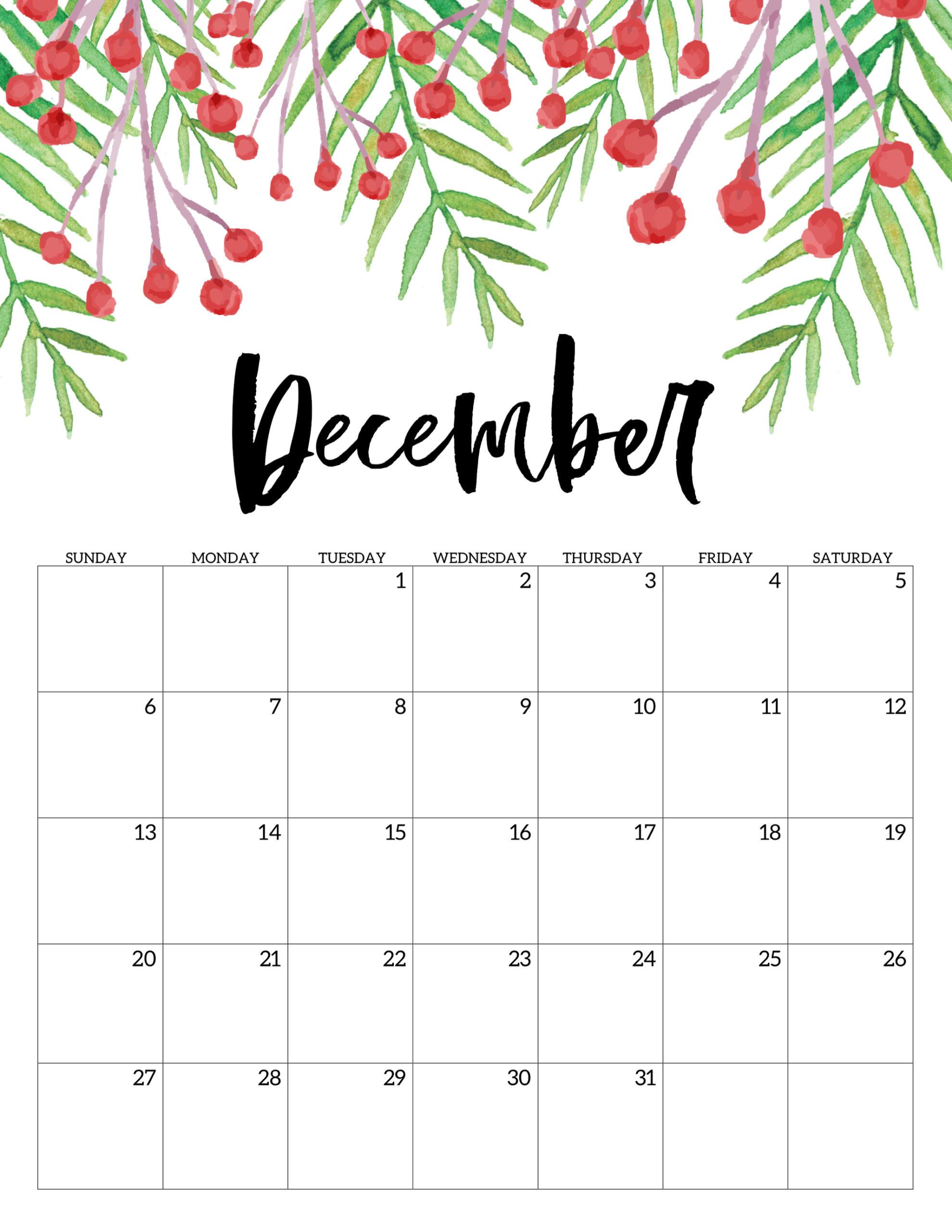 Free Printable Calendar 2020 - Floral - Paper Trail Design
