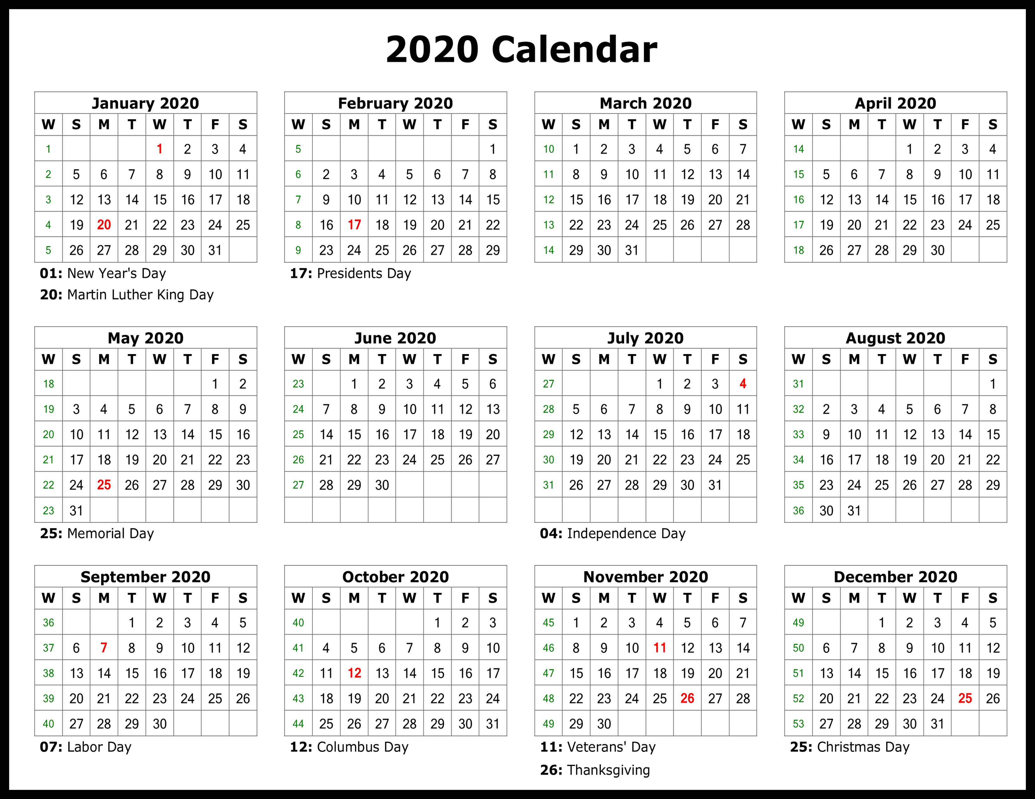 Free Printable Calendar 2020 Template In Pdf, Word, Excel