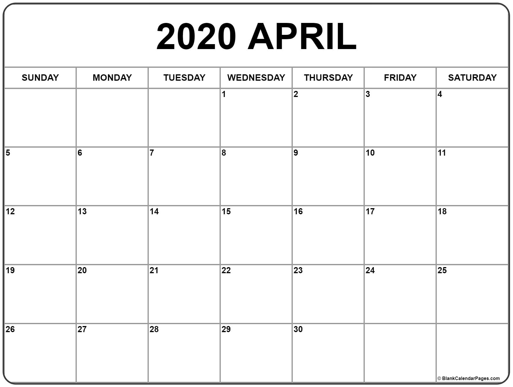 Free Printable Calendar April 2020 - Wpa.wpart.co