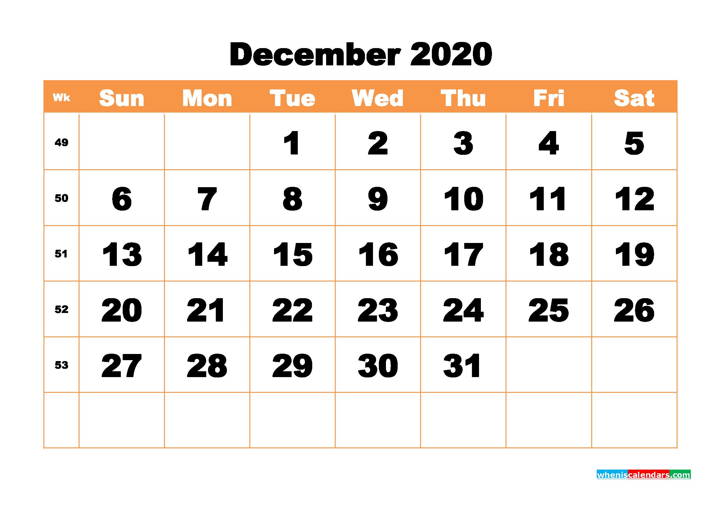 Free Printable Calendar December 2020 Pdf, Word - No.m20B444