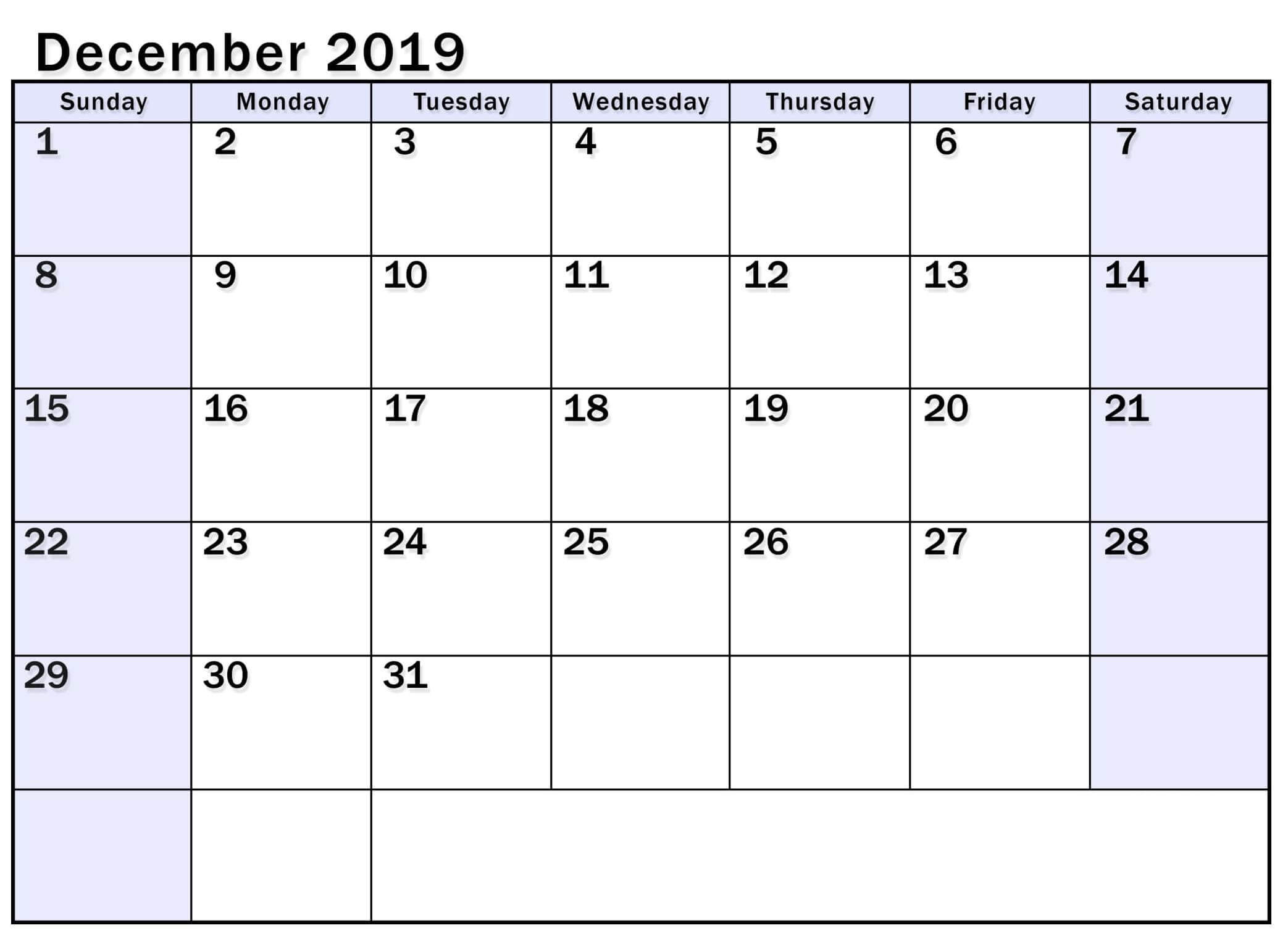Free Printable Calendar For December 2019 - 2019 Calendars