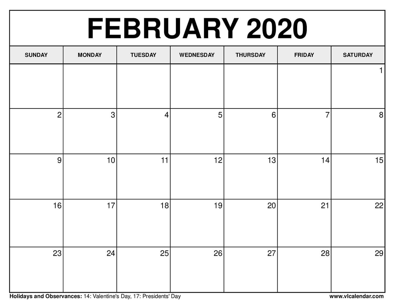 Free Printable Calendar For February 2020