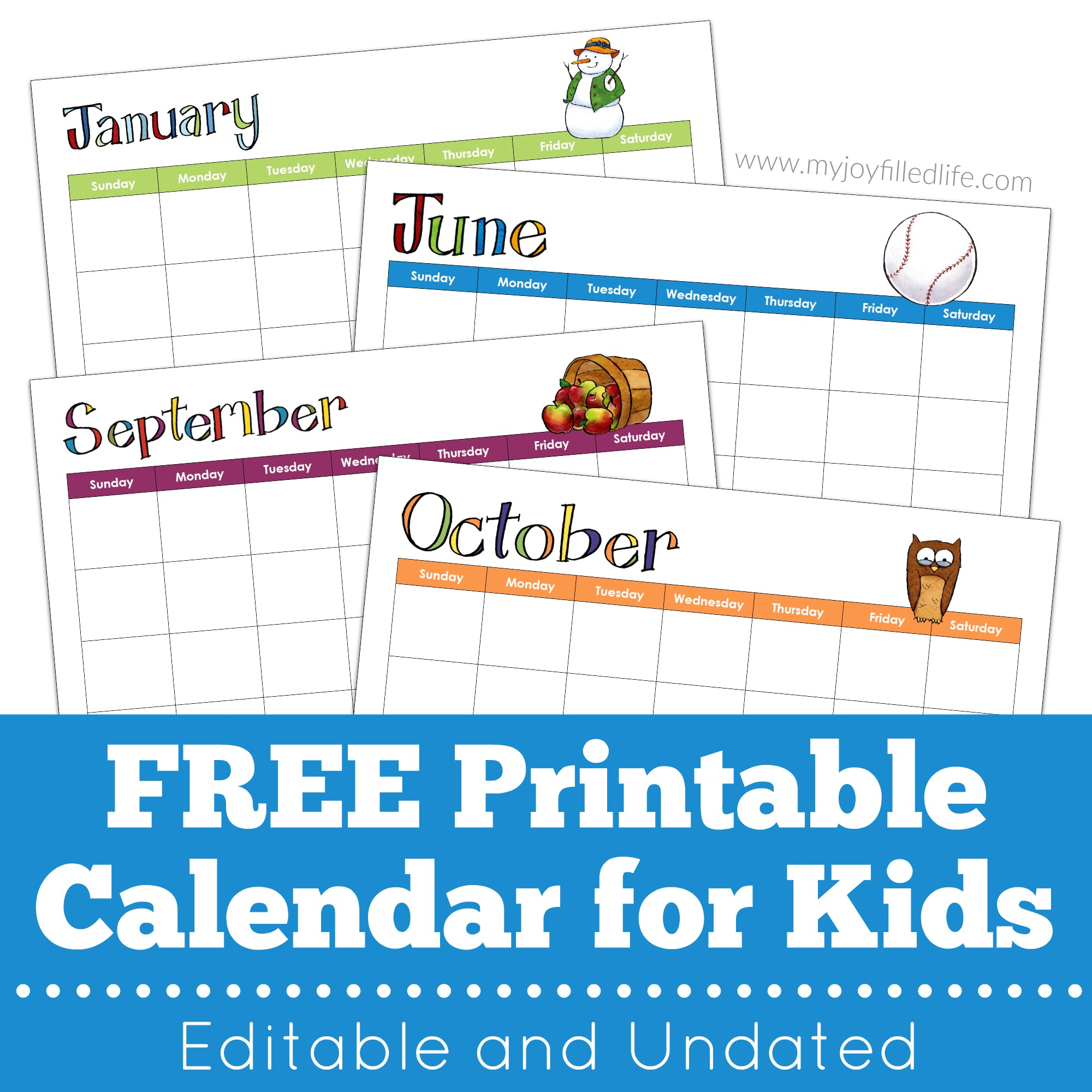 Free Printable Calendar For Kids – Editable & Undated - My