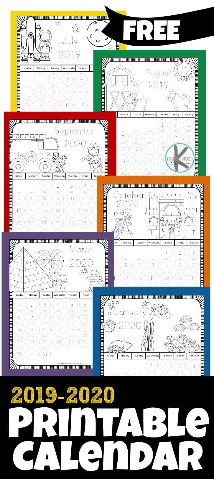 Free Printable Calendar For Kids To Color - This Free 2020