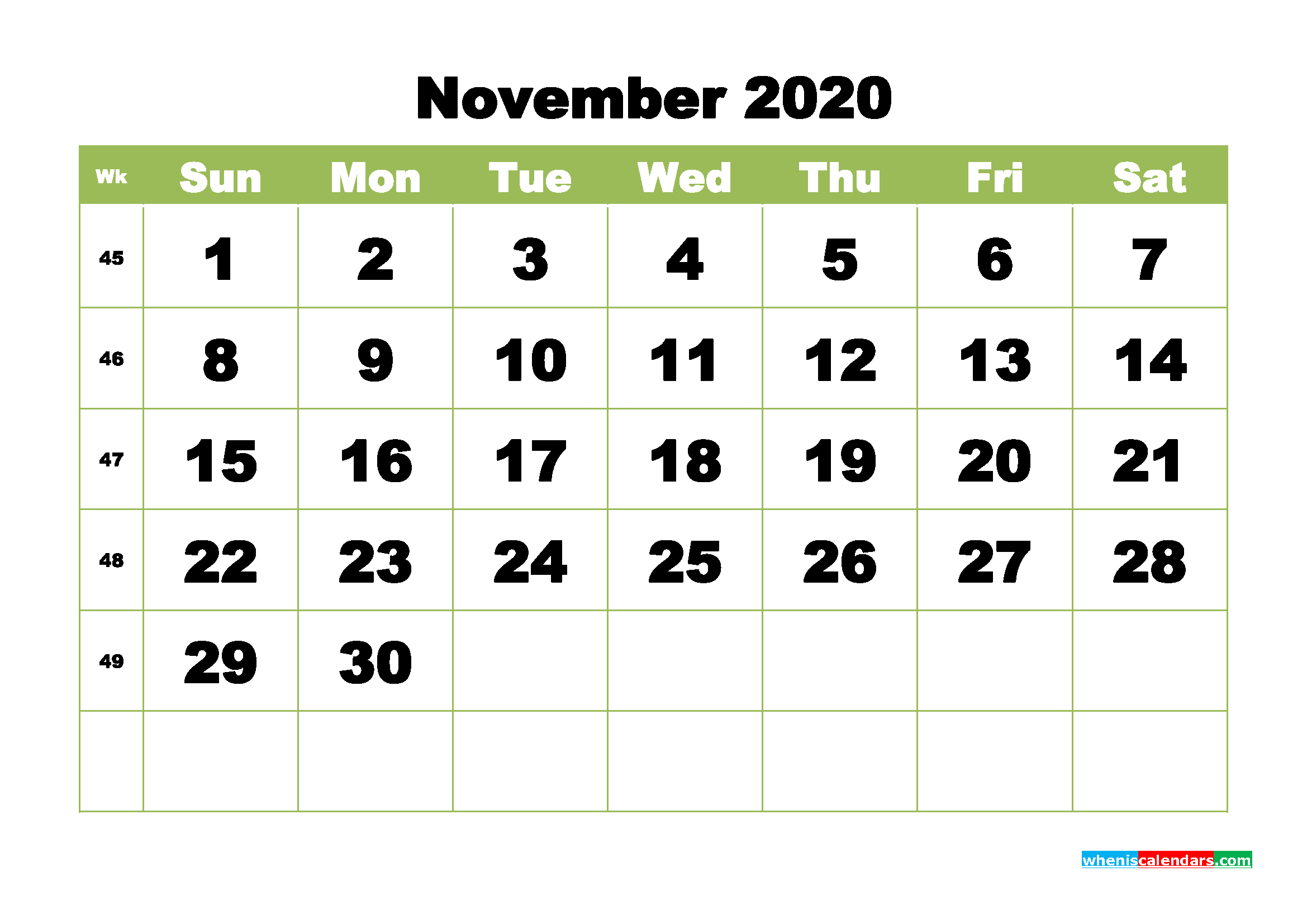 Free Printable Calendar November 2020 Pdf, Word - No.m20B371