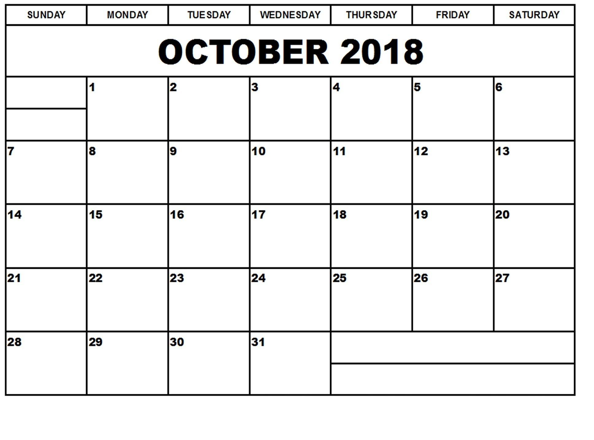 Free Printable Calendar October 2018 Cute With Notes