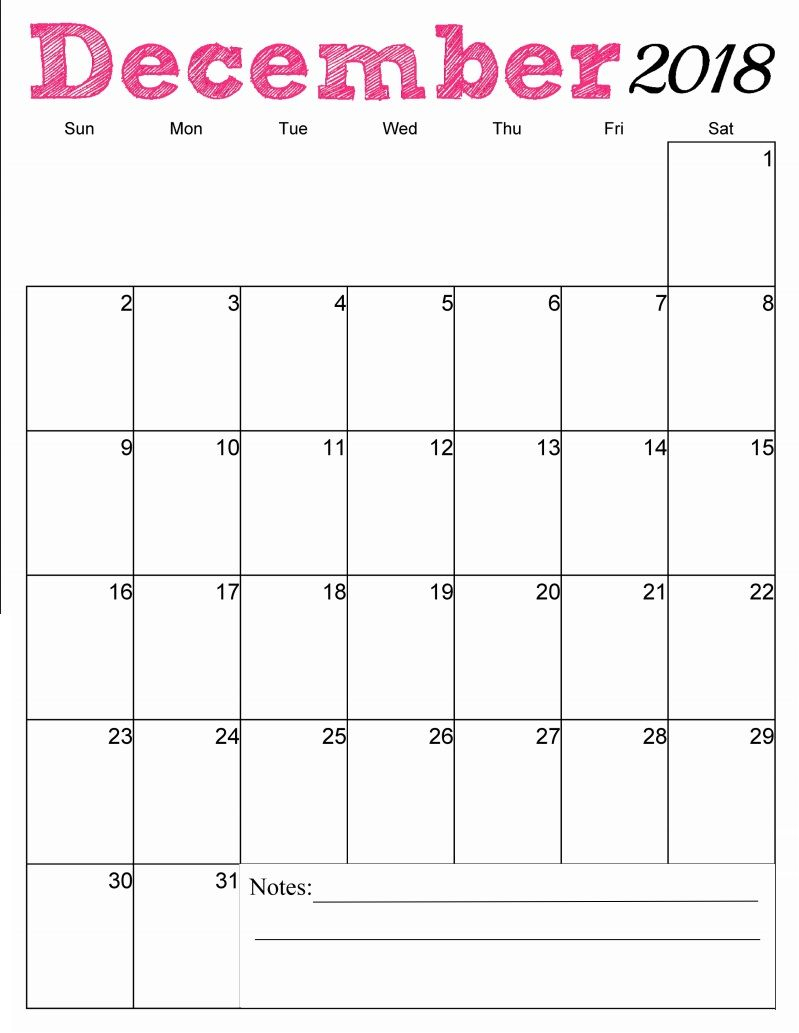 Free Printable December 2018 Vertical Calendar | Free