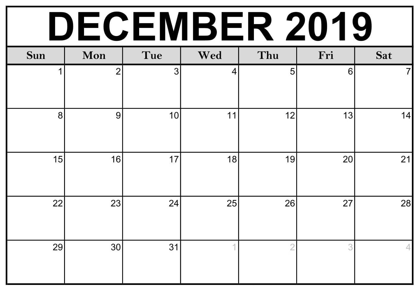 Free Printable December 2019 Calendar Notes - 2019 Calendars