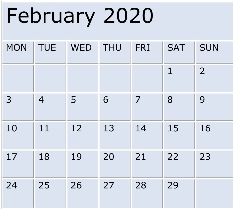 Free Printable February 2020 Calendar Editable Format