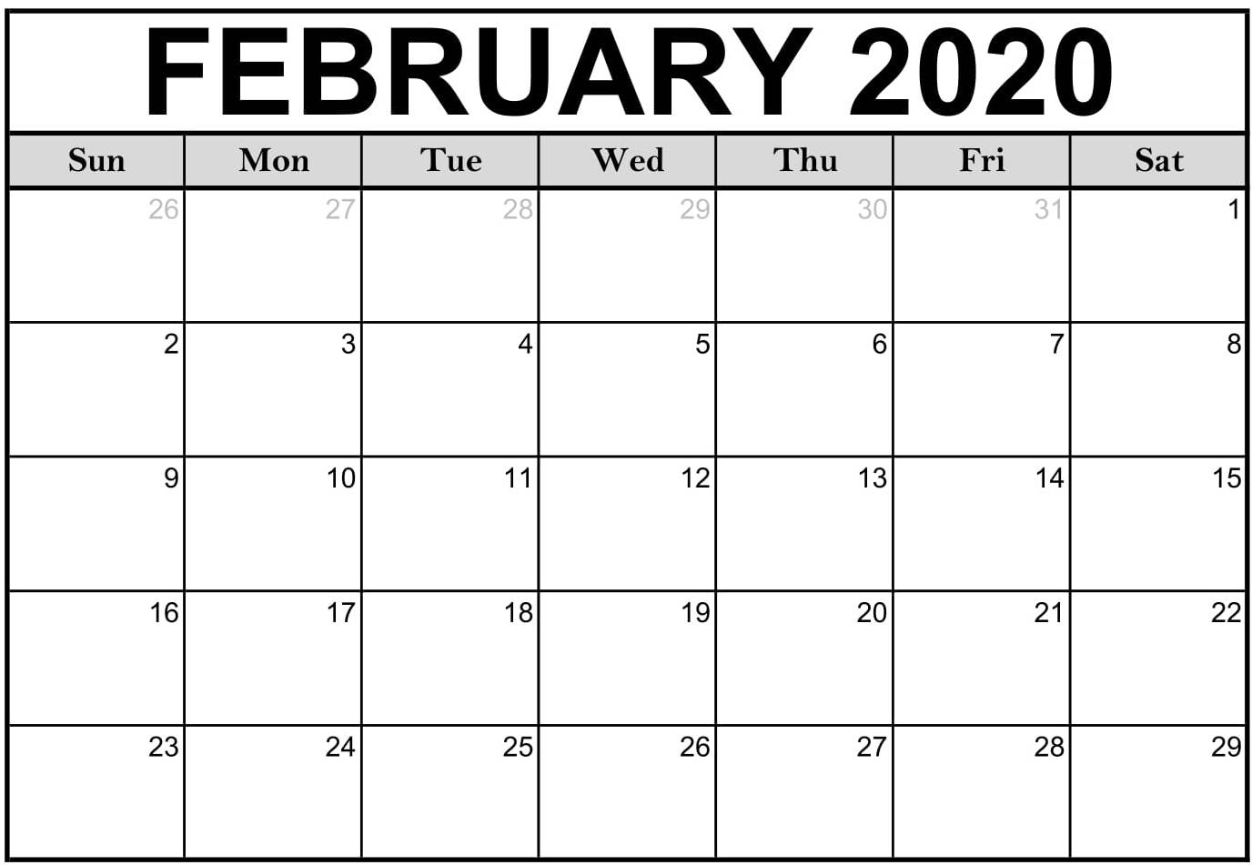 Free Printable February Calendar 2020 Pdf Sheet - Set Your