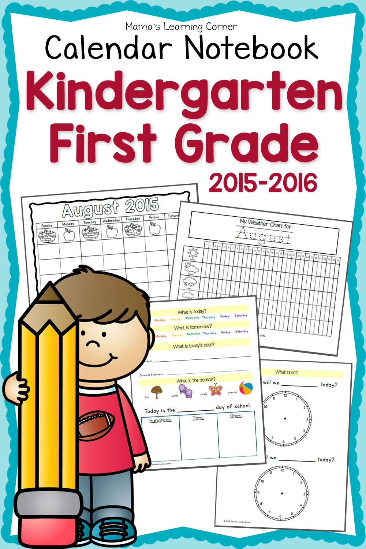 Free Printable First Grade Calendar Notebook | Money Saving