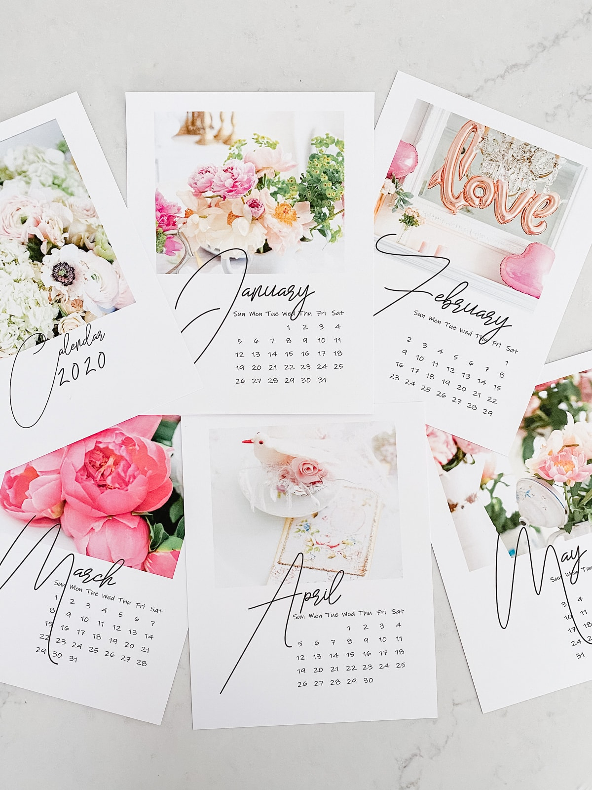 Free Printable Floral 2020 Calendar - Shabbyfufu