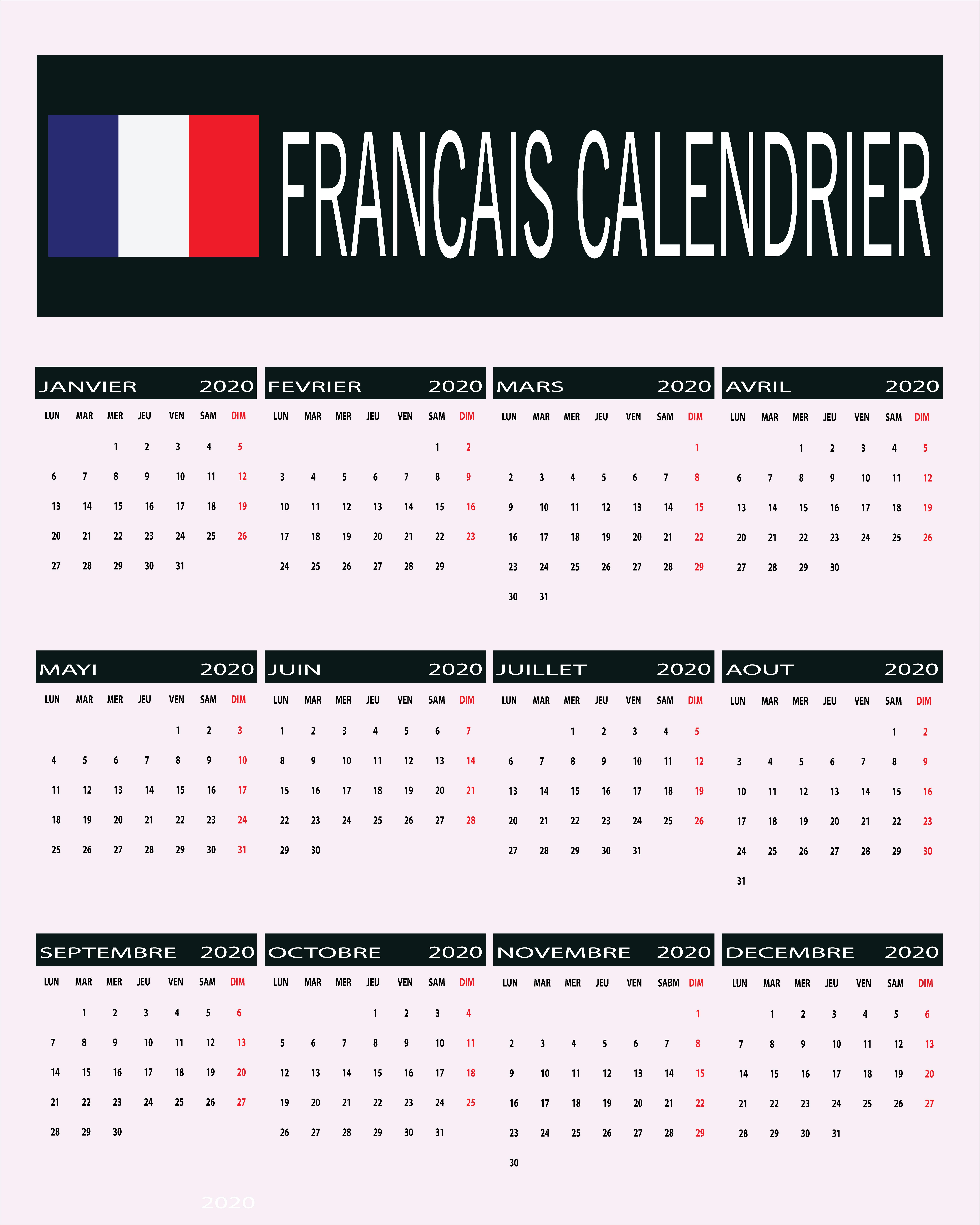 Free Printable French Calendar 2020| 2020 Calendrier