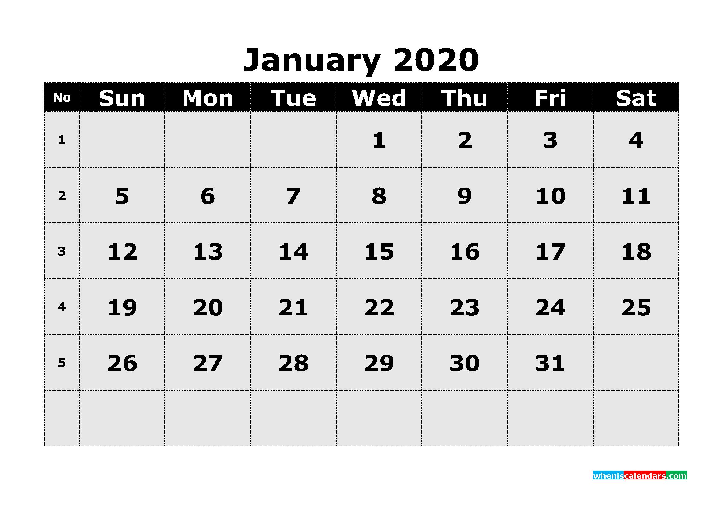 Free Printable January 2020 Calendar Template Word | Free