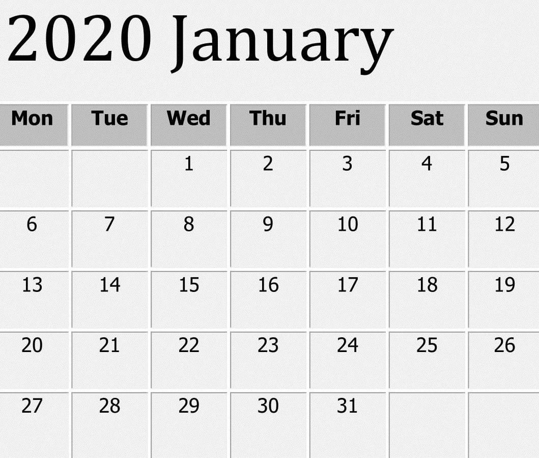 Free Printable January 2020 Calendar Word Template – Free