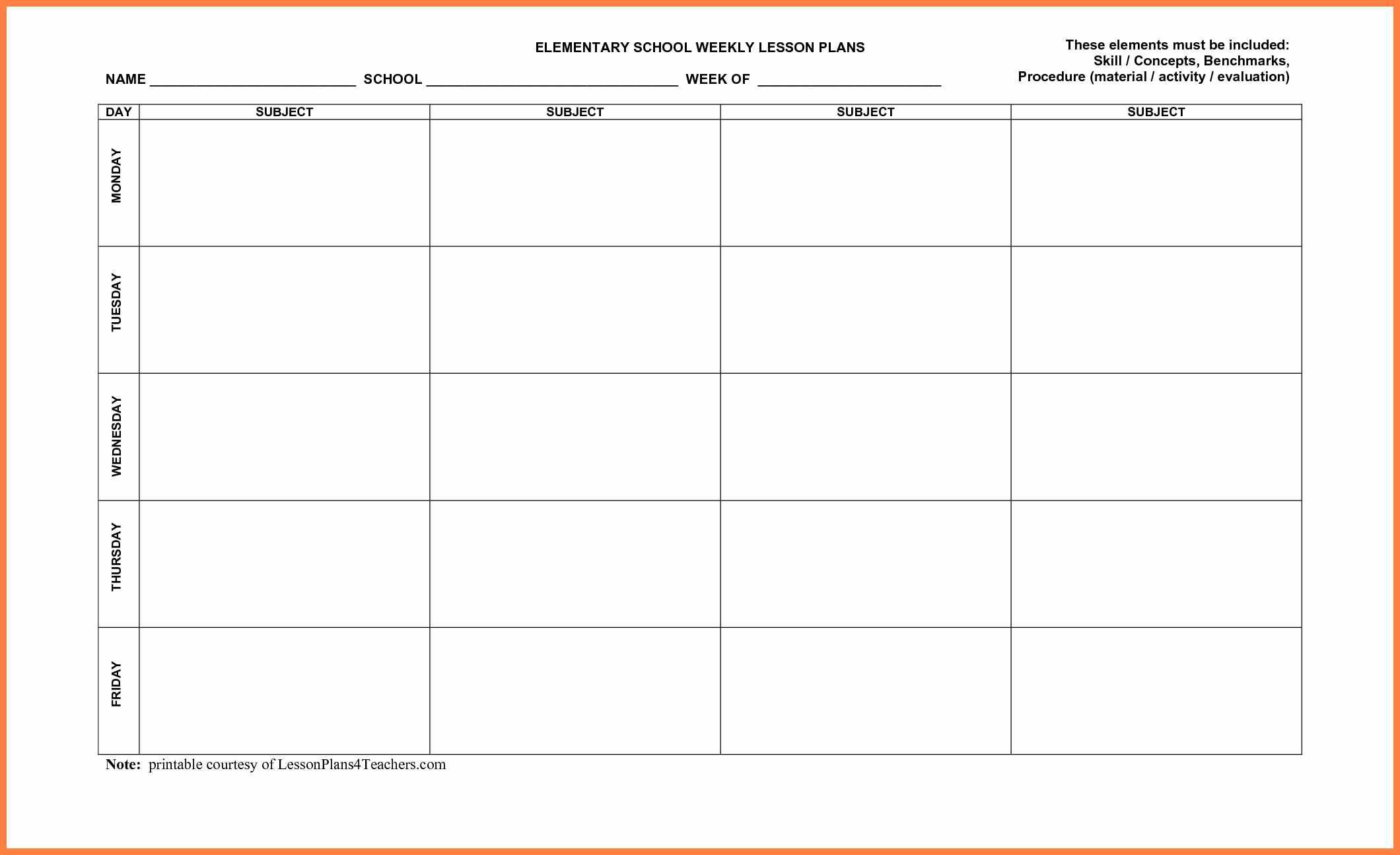 Free Printable Lesson Plan Templates - Wpa.wpart.co