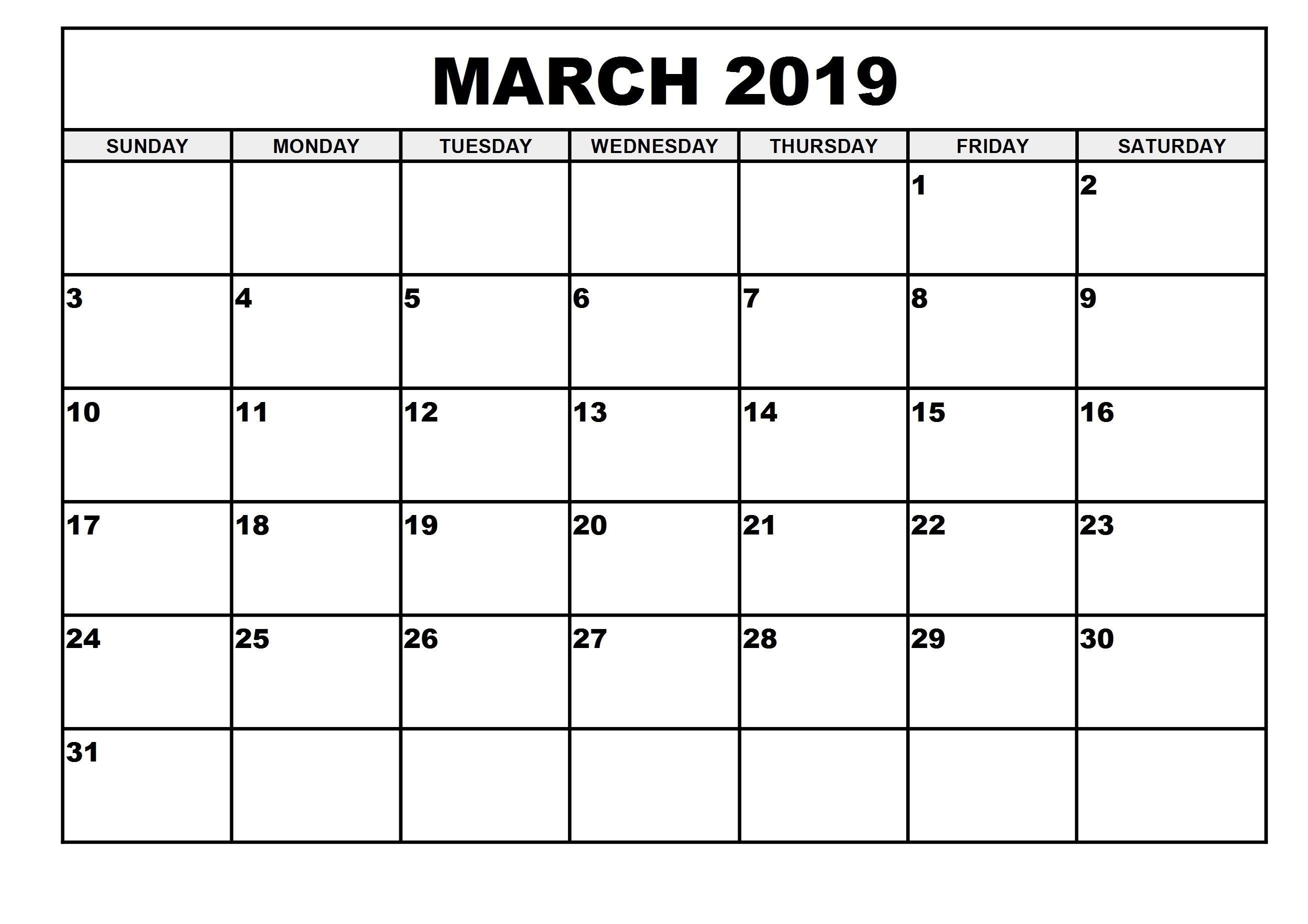 Free Printable March 2019 Calendar For Vertical Template