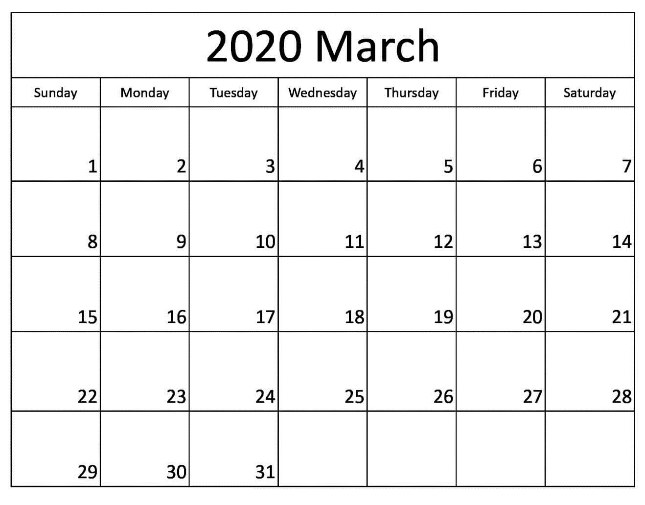 Free Printable March 2020 Calendar - Auntyno 1 - Medium