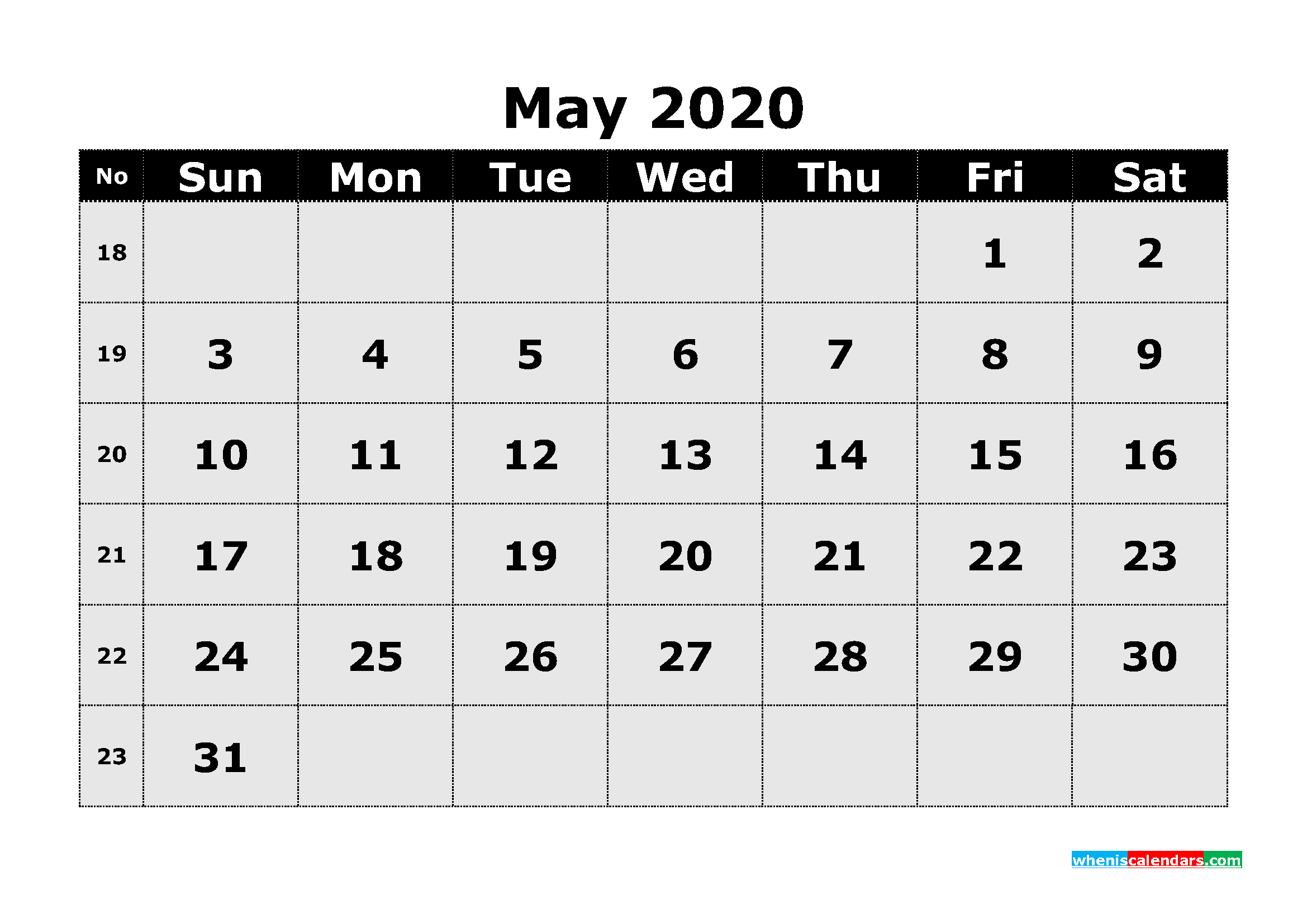 Free Printable May 2020 Calendar Template Word | Free
