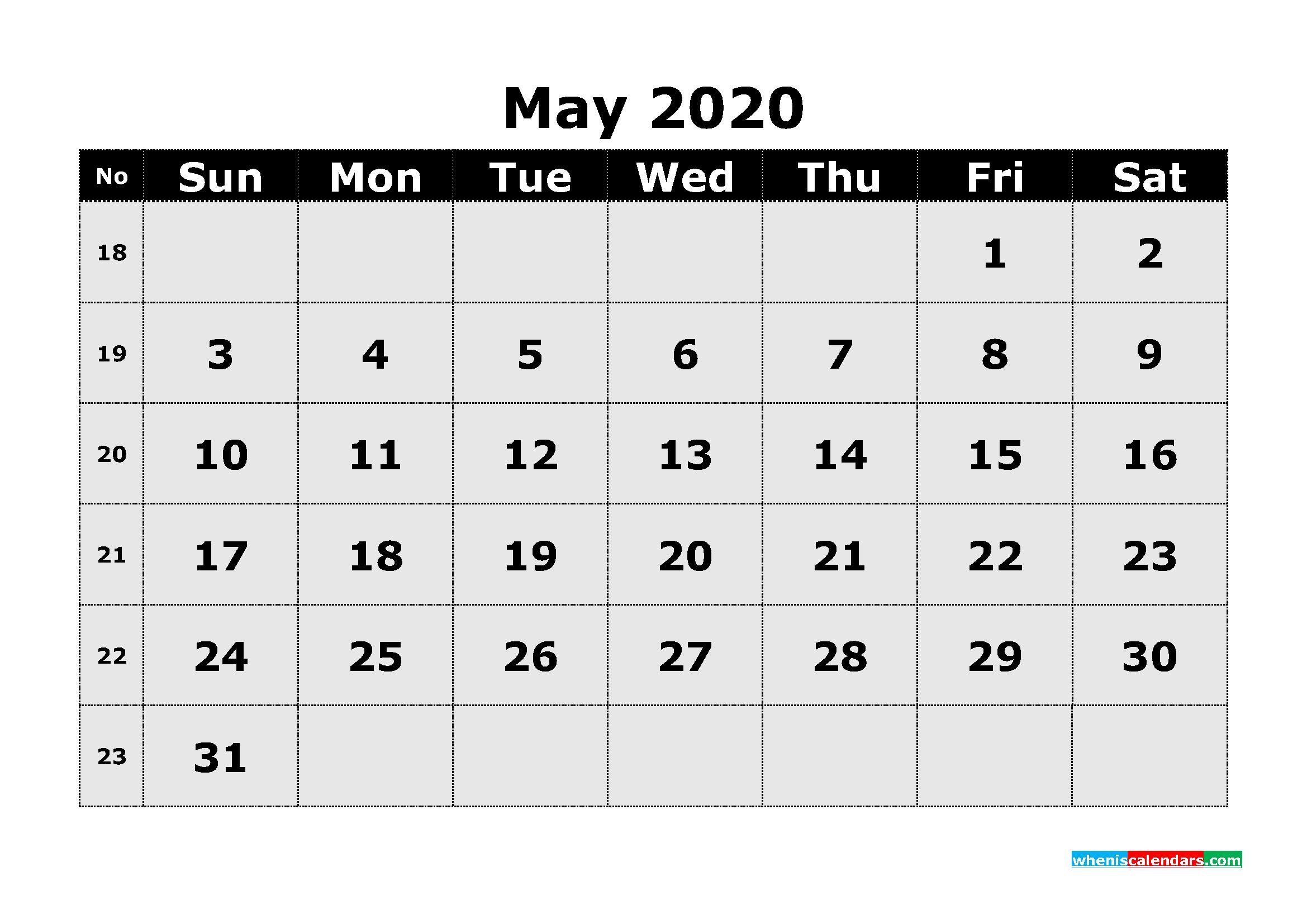 Free Printable May 2020 Calendar Template Word | Free