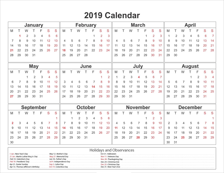 Free Printable Monthly Calendar 2019 Australia - Australia