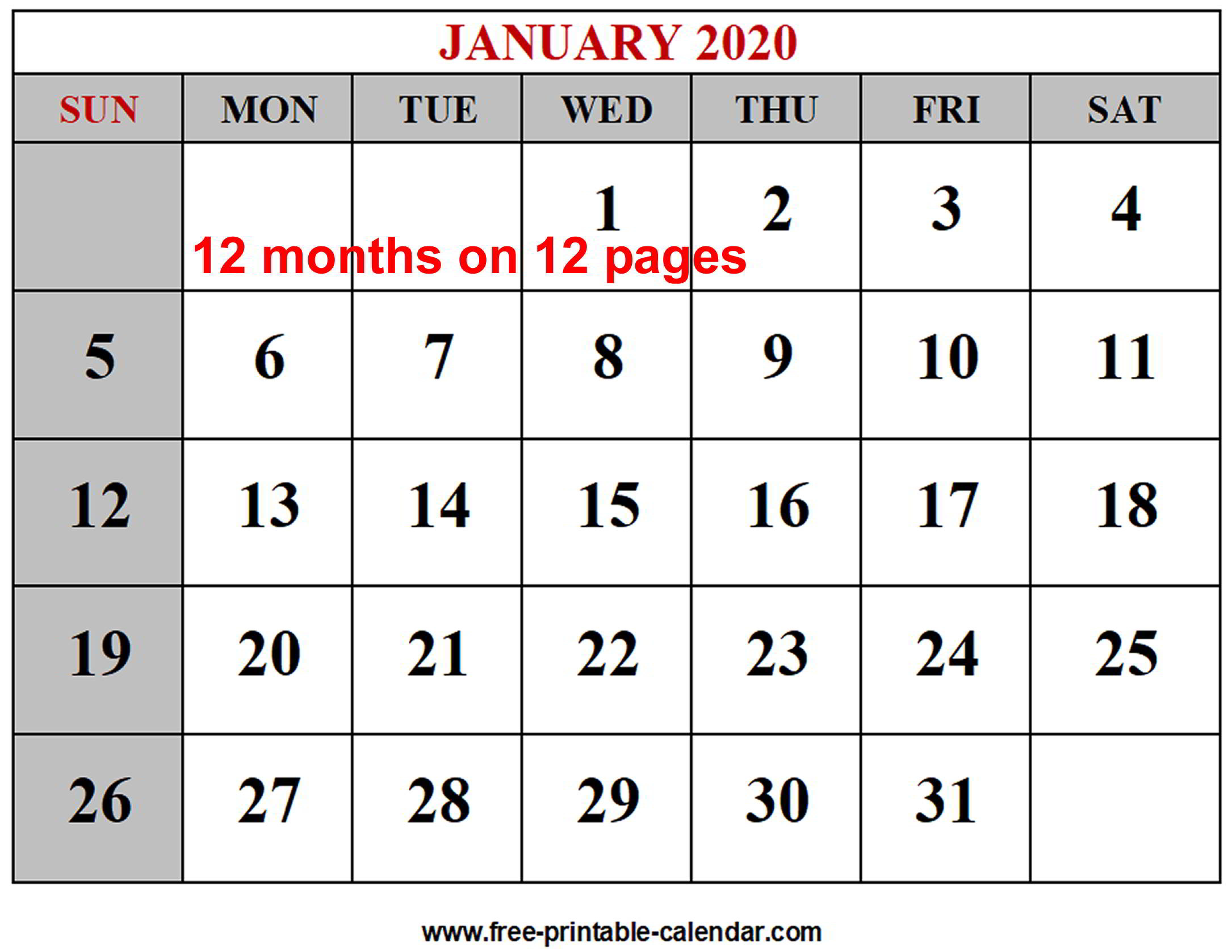 Free Printable Monthly Calendar Templates 2020 - Wpa.wpart.co