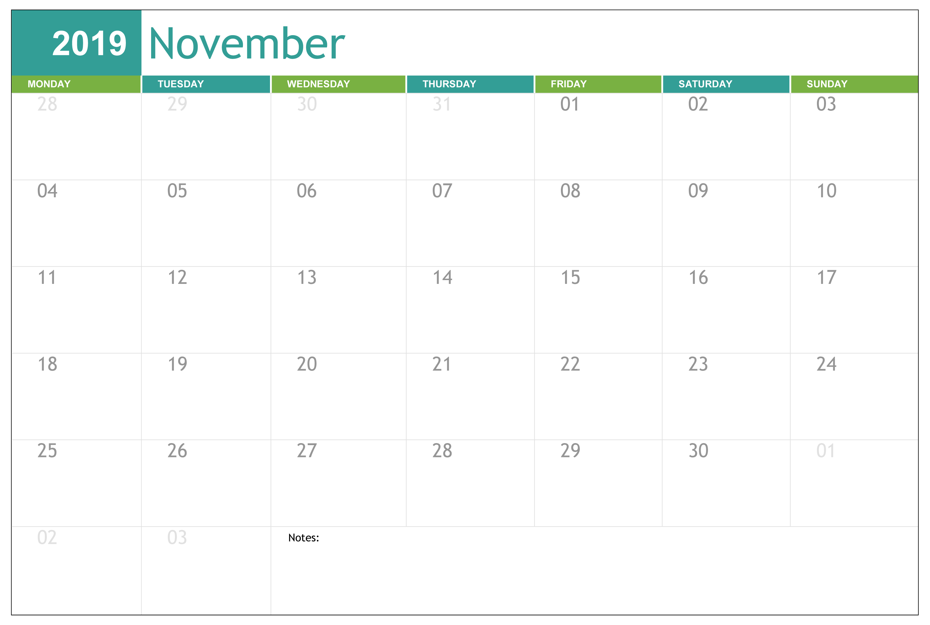 Free Printable November 2019 Calendar Excel - 2019 Calendars