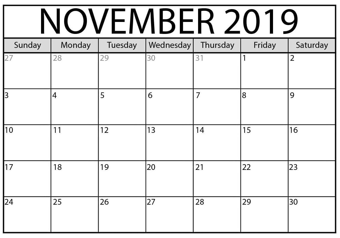Free Printable November 2019 Calendar Online - 2019