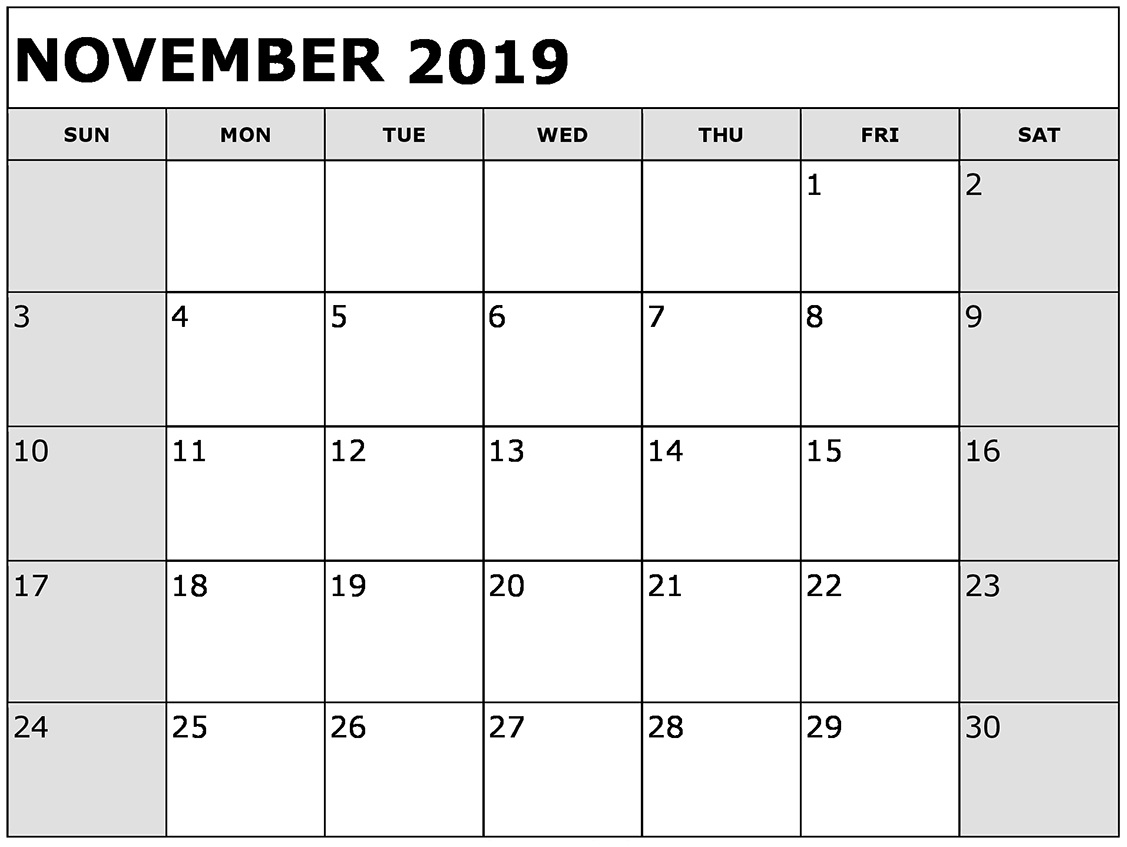 Free Printable November 2019 Calendar Planner Templates