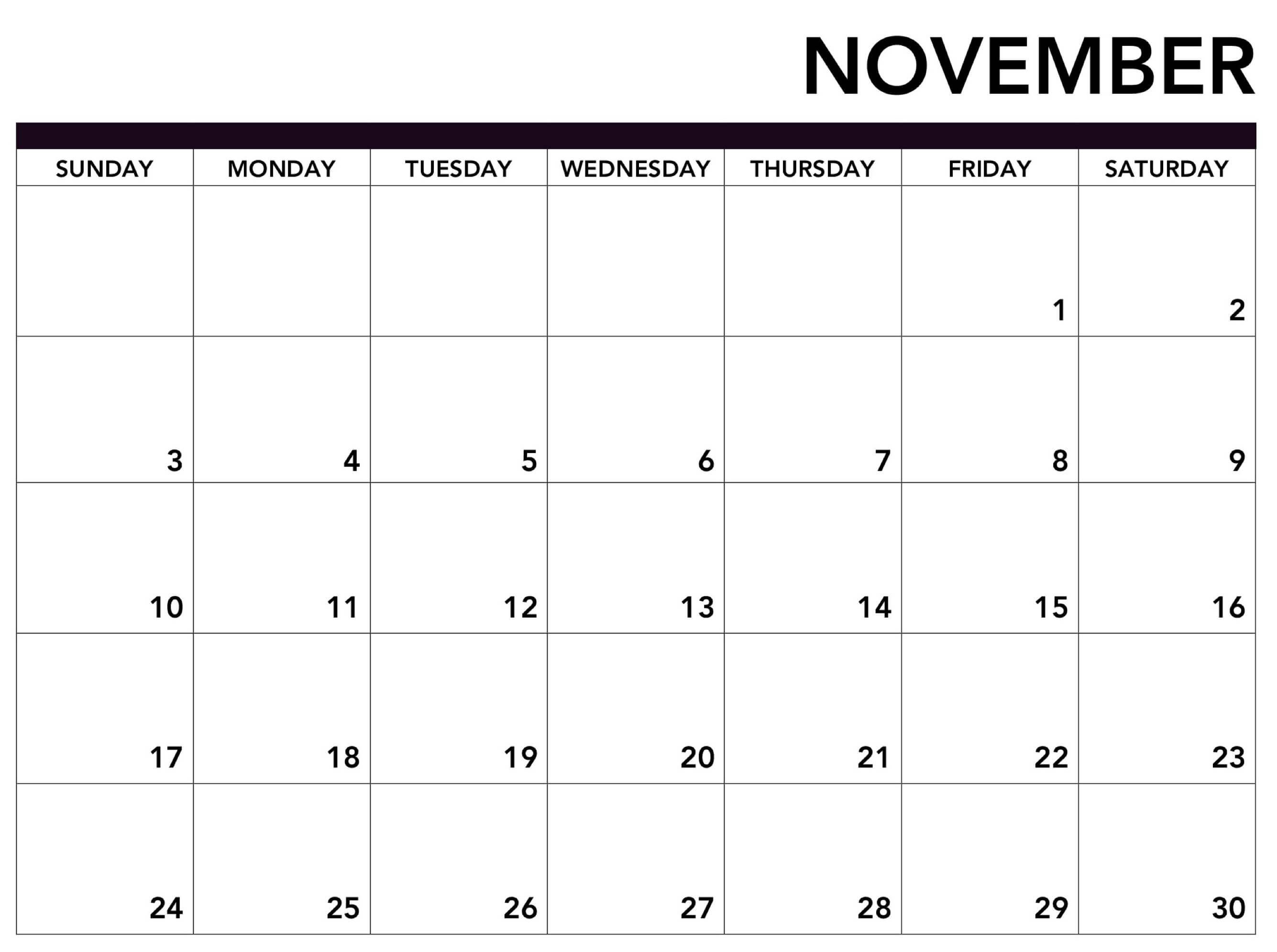 Free Printable November Calendar 2019 - 2019 Calendars For