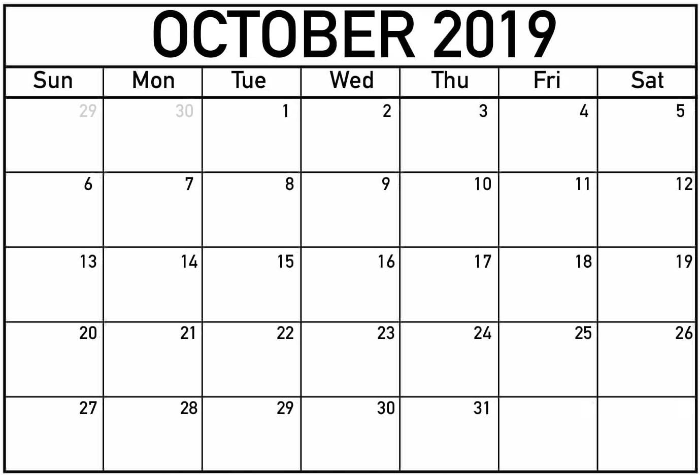 Free Printable October 2019 Calendar Page - 2019 Calendars